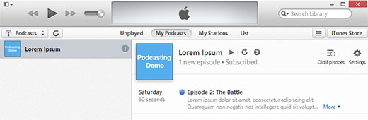 Testing your podcast in iTunes