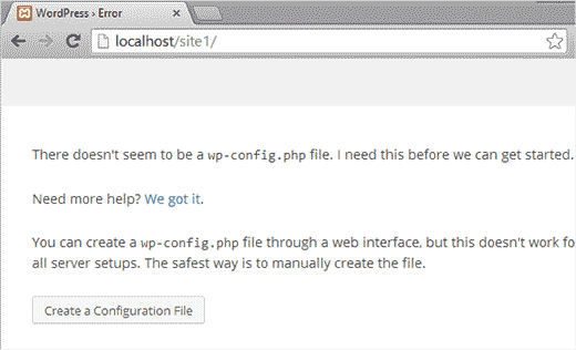 WordPress installation: creating a configuration file