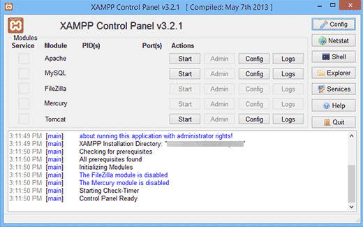 XAMPP Control Center
