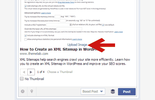 Manually uploading a Facebook thumbnail when posting to page