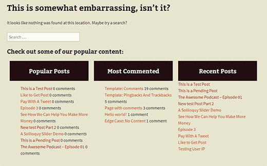 A modified 404 page in WordPress showing popular posts