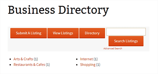 Web directory view of Business Directory Plugin