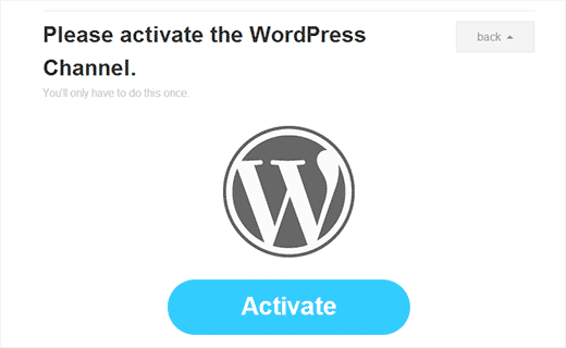Activate WordPress as channel in IFTTT