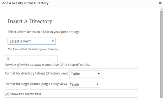 Adding web directory to a WordPress post/page