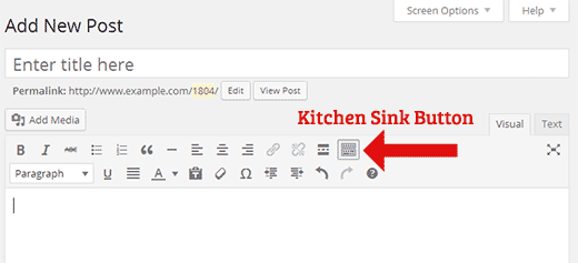 Kitchen Sink button in the post editor