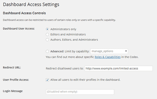 Configuring Limit Dashboard Access plugin