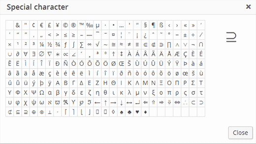 Special characters table in WordPress post editor