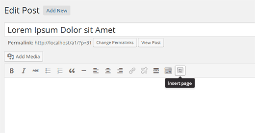 Insert page button in the visual editor