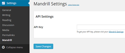 Enter your Mandrill API Key here