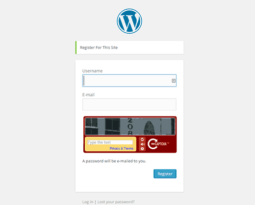 Preview of CAPTCHA enabled on WordPress registration page