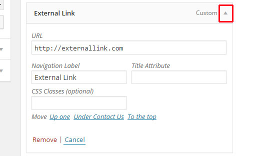 Expanding a menu item  - expand menu item - Add Nofollow Links in WordPress Navigation Menus