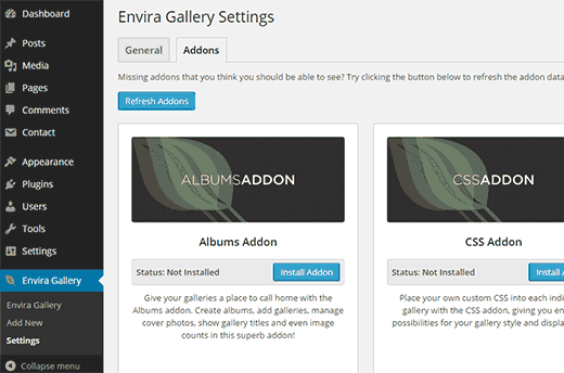 Install and activate albums and standalone addons for Envira