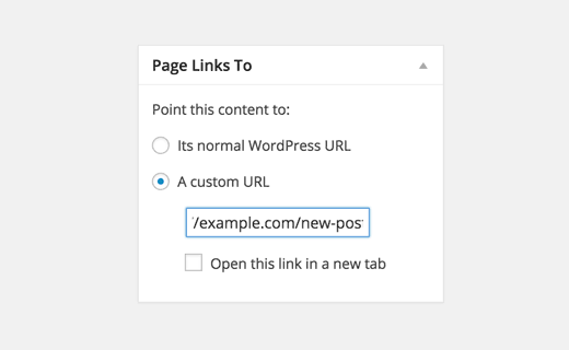 Adding redirect link in post editor
