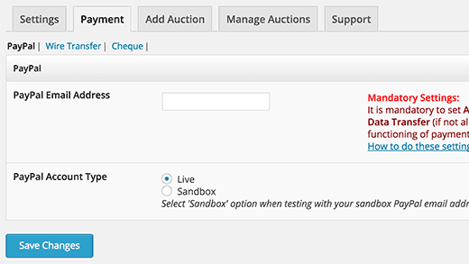 Configuración de PayPal en el complemento Ultimate Auction para WordPress