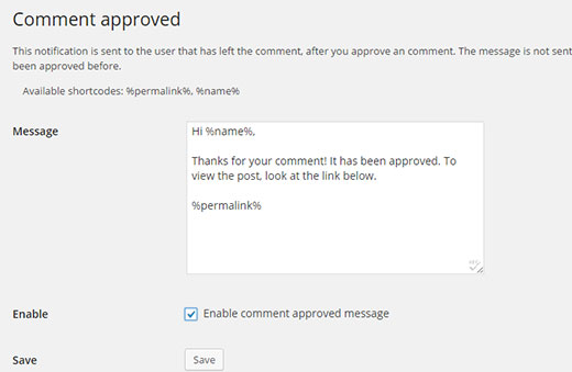 Comment Approved notification settings