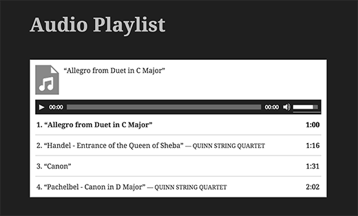 An audio playlist in WordPress without any plugin