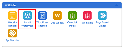 Instalar el icono de WordPress en el panel de control de BluePhost de Bluehost