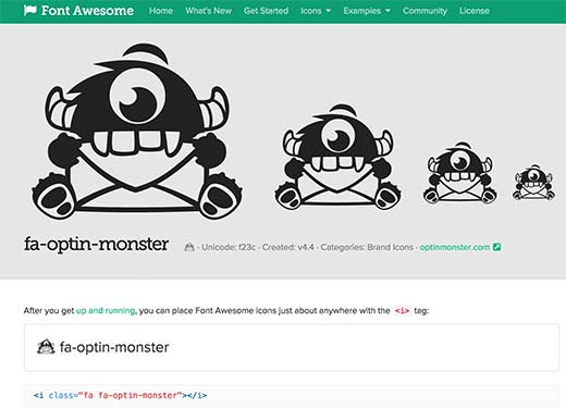 OptinMonster icon in Font Awesome