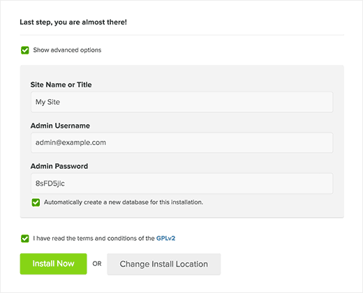 WordPress installation settings in MOJO Marketplace