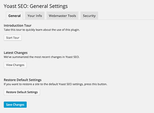 WordPress SEO by Yoast - General Settings