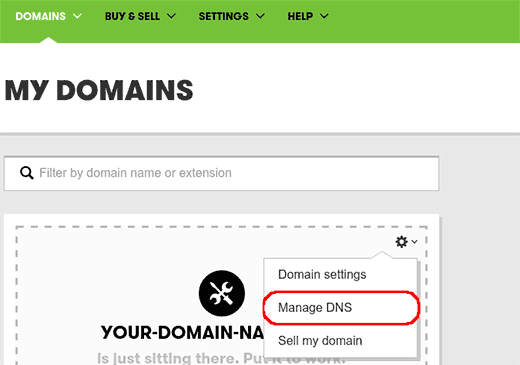 Launching DNS manager in GoDaddy