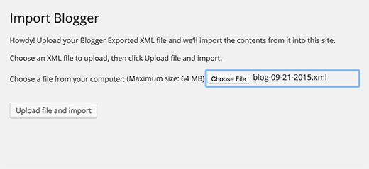 Upload Blogger export file to WordPress