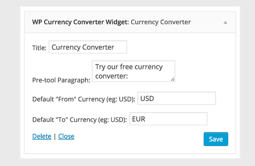 Currency converter widget