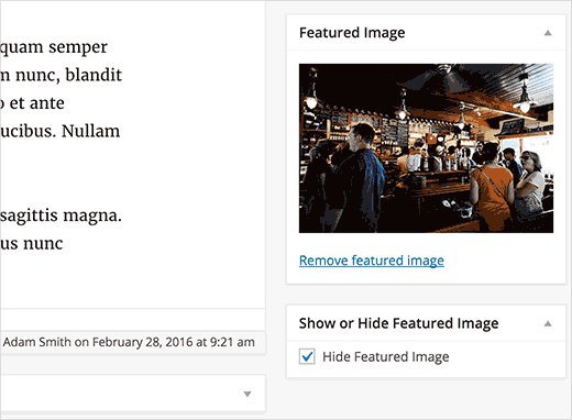Hide featured image checkbox