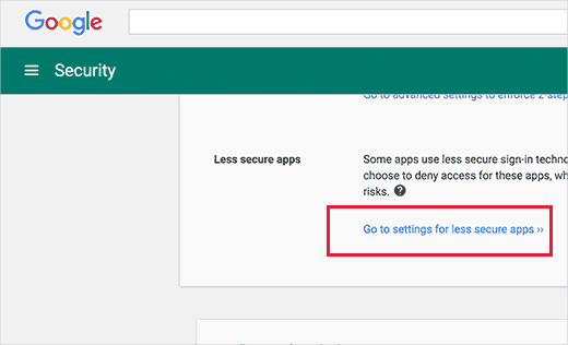 Less secure apps settings in Google Apps