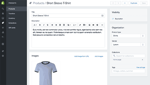 Shopify add product page