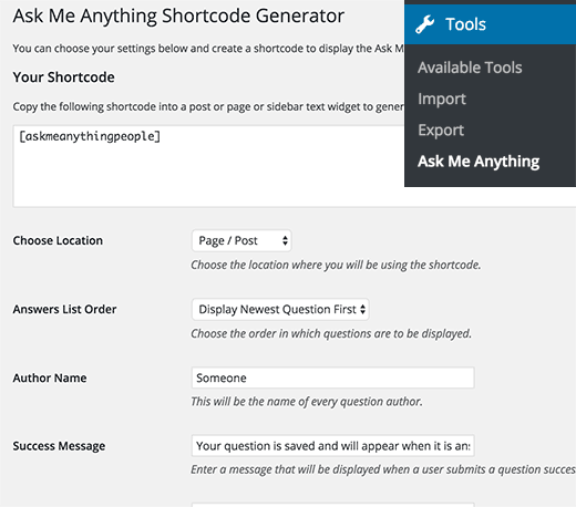 Ask me anything shortcode settings