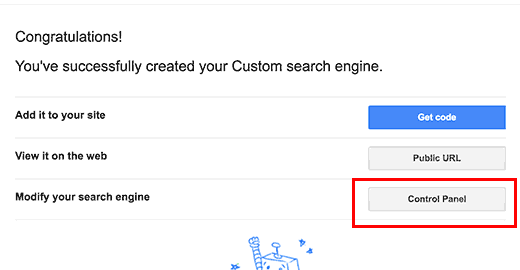 go to Google custom search engine's control panel