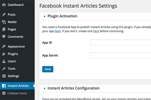 Instant Articles WP plugin settings