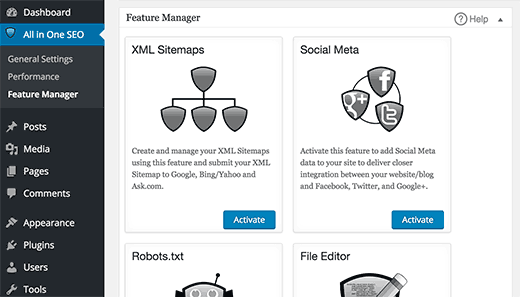 Features manager in All in One SEO