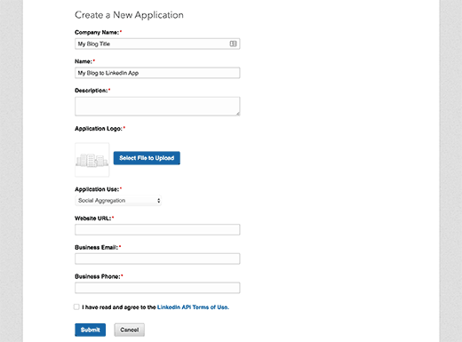 Create new app application form