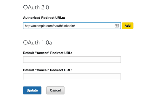 Adding redirect url in LinkedIn app