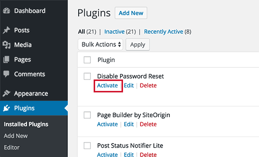Activate Disable Password Reset plugin