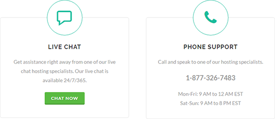 GreenGeeks offers phone and live chat support