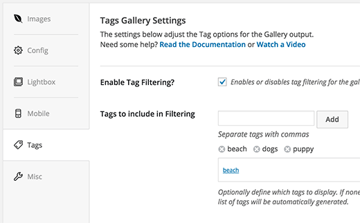 Enabling tag filtering for a gallery created with Envira Gallery