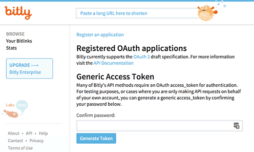 Generate Bitly access token