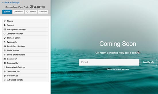 Coming soon page customizer