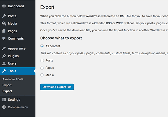 Export content from your old WordPress site