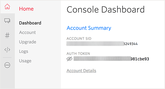 Copy account ID and Auth key