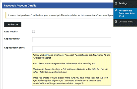 Facebook auto publish settings page
