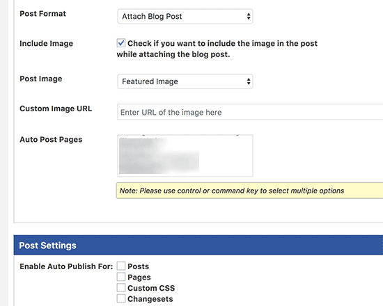 Facebook auto post settings