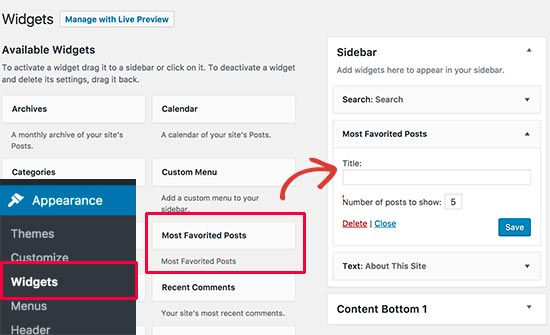 Adding most favorited posts widget to a sidebar