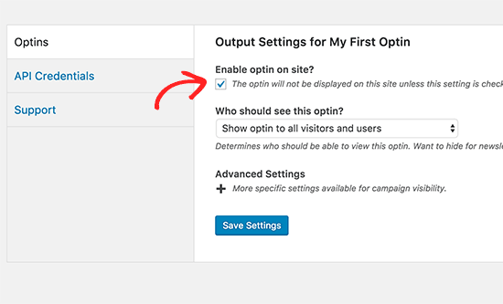 Enable optin on your site