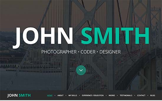 online cv is a modern wordpress resume theme with a corporate look it features a fullscreen background on the homepage with your name or site title