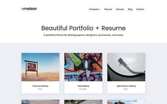 meteor is a stylish wordpress theme suitable for resume blog and portfolio websites it includes grid carousel masonry and blocks portfolio templates