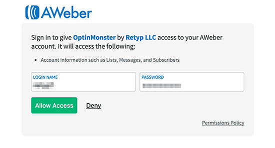 AWeber allow access